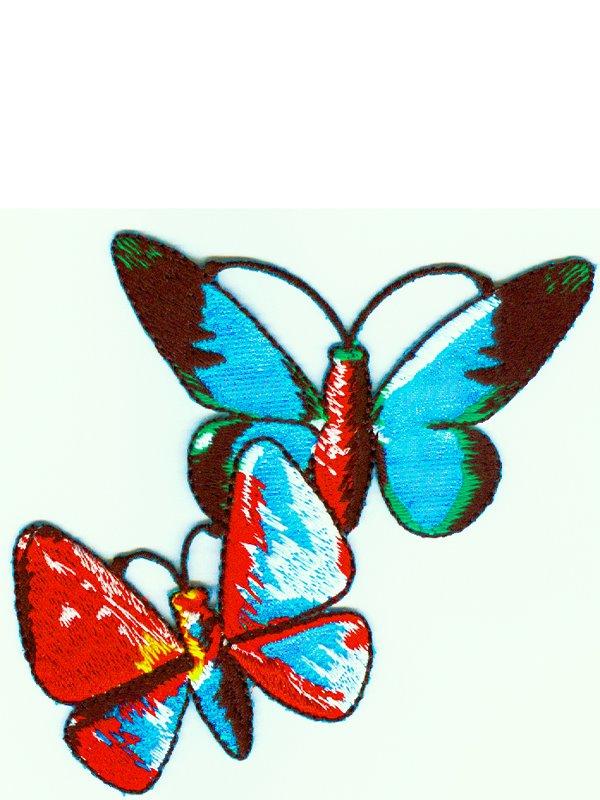 Två färgglada fjärilar. Se fler tygmärken och laglappar hos Textil ... 833aa77bc586a