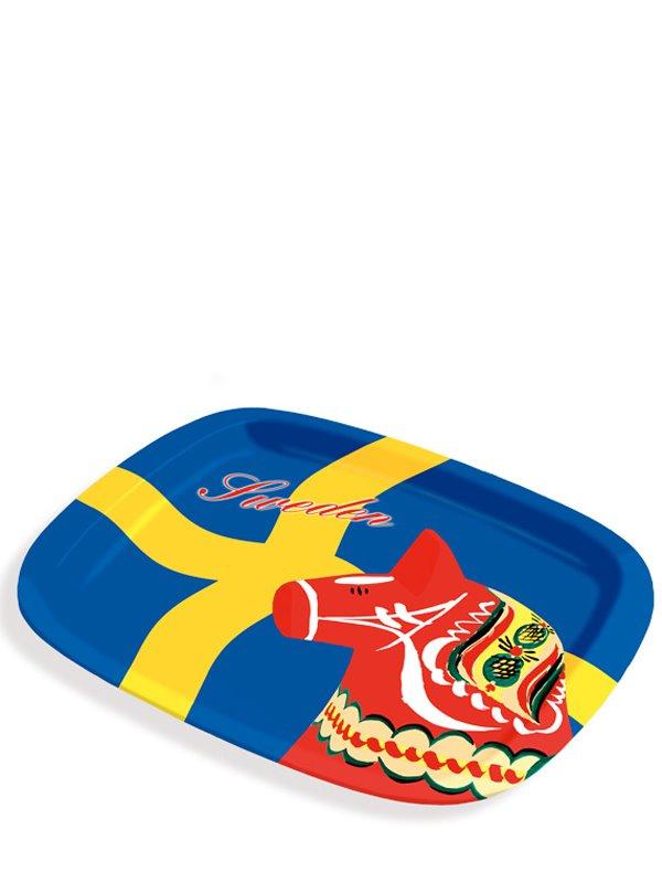 Bricka dalahäst och svensk flagga. Svenska souvenirer från Textil ... 6b975fc34ab98