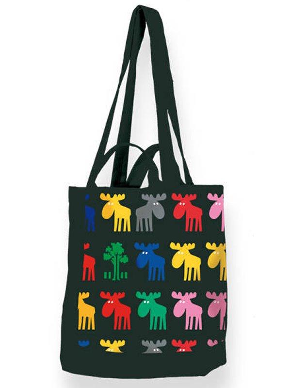 Väska med älgar moose in colour av Mia L. Se svenska souvenirer hos ... d3d10ab218d21