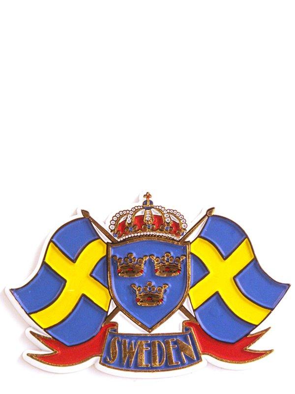 Kylskåpsmagnet Faggor Sweden. Svenska souvenirer från Textil ... b9a21c22cb5f3