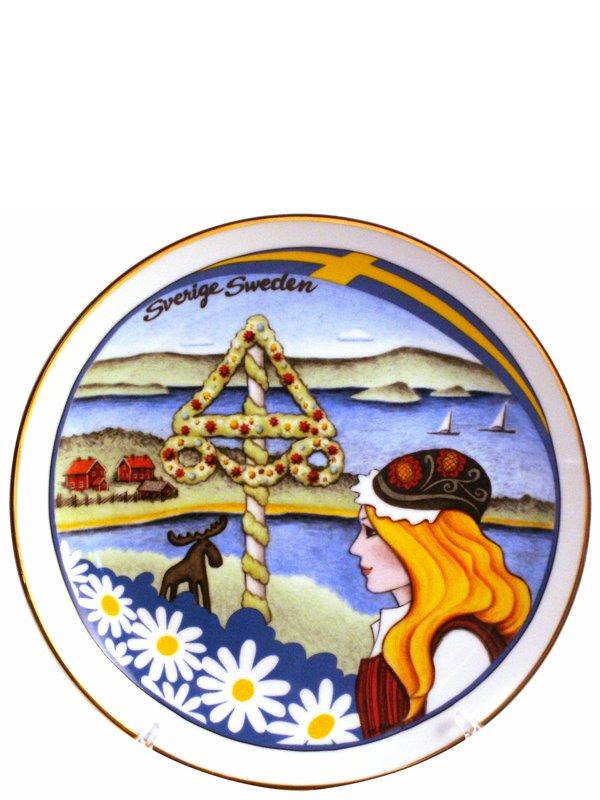 Tallrik Sverige Landskap 19 cm. Svenska souvenirer från Textil ... 8a81adbdefaca