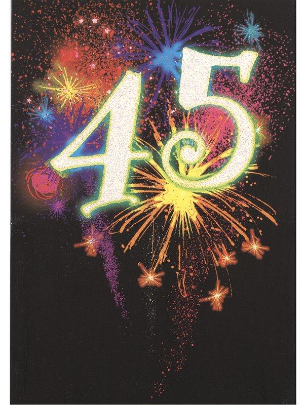 grattis på 45 årsdagen Grattiskort 45 år. Se fler gratulationskort hos Textil & Presentia  grattis på 45 årsdagen