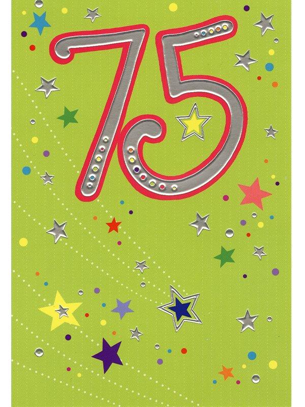 grattis på 75 årsdagen Grattiskort 75 år. Se fler gratulationskort hos Textil & Presentia  grattis på 75 årsdagen
