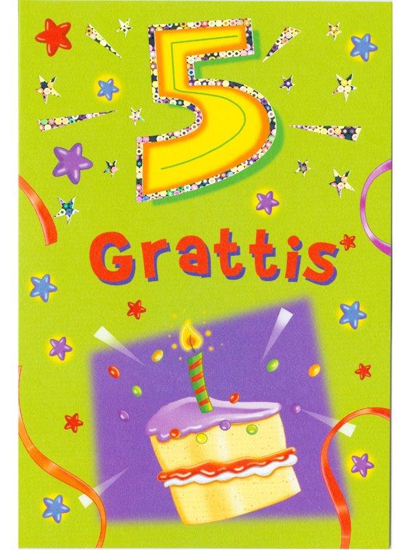 grattis 5 år Gratulationskort 5 års dagen. Se fler grattiskort hos Textil  grattis 5 år