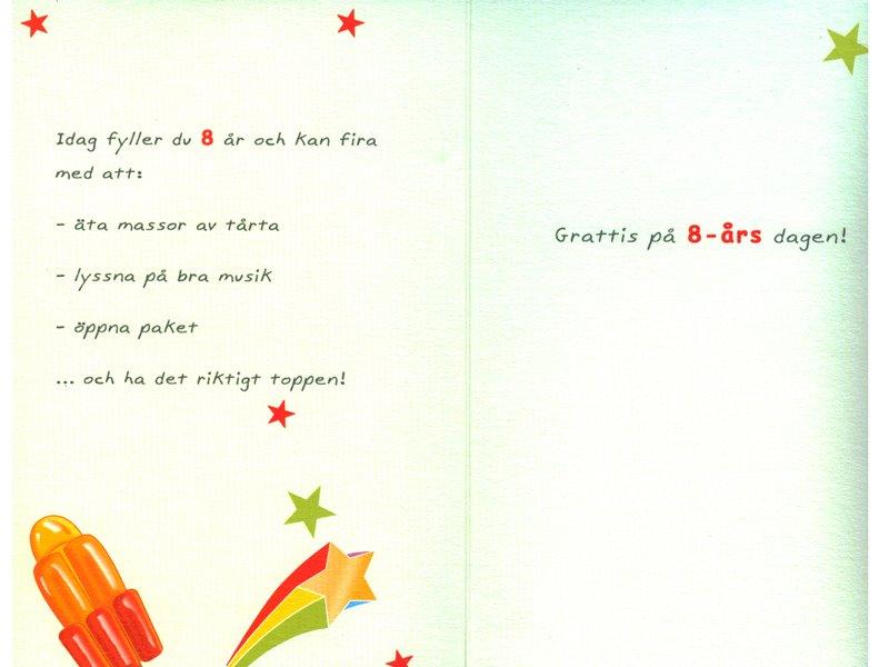 grattis på 8 årsdagen Gratulationskort 8 års dagen. Se fler grattiskort hos Textil  grattis på 8 årsdagen