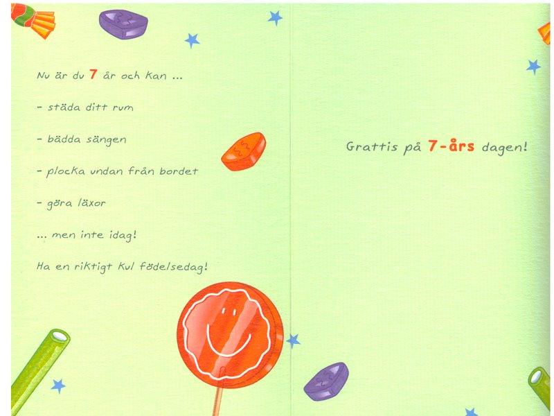 grattis på 1 årsdagen text Gratulationskort 7 års dagen. Se fler grattiskort hos Textil  grattis på 1 årsdagen text
