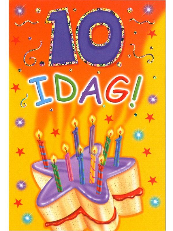 födelsedagskort 10 år Gratulationskort 10 års dagen. Se fler Grattiskort hos Textil  födelsedagskort 10 år