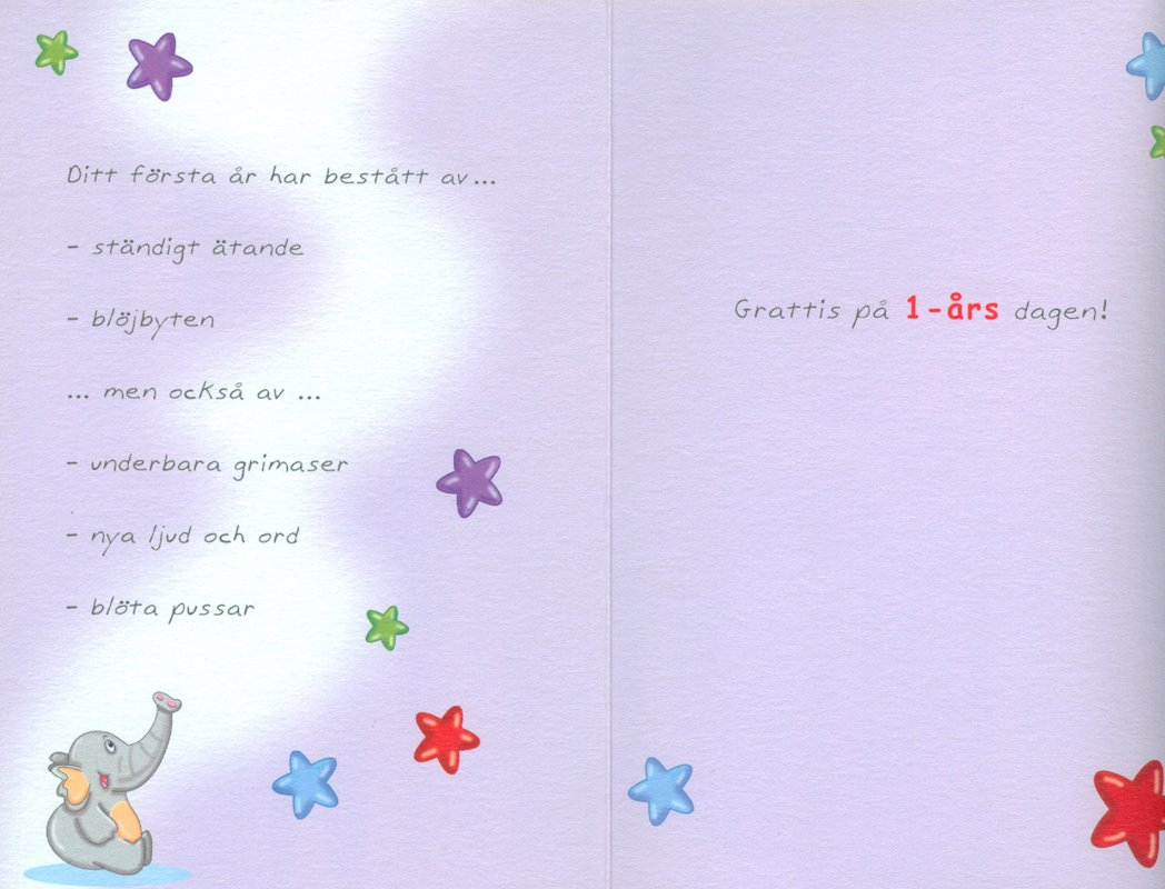 grattis på 1 årsdagen text Gratulationskort 1 års dagen. Se fler grattiskort hos Textil  grattis på 1 årsdagen text