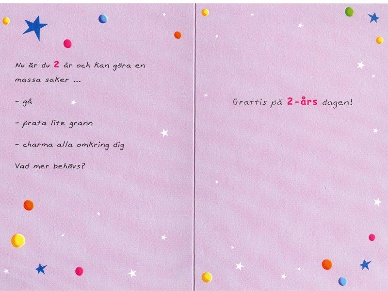grattis på 2 årsdagen Gratulationskort 2 års dagen. Se fler grattiskort hos Textil  grattis på 2 årsdagen