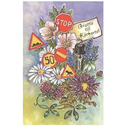 grattis till körkortet vykort Grattis till körkortet   Textil & Presentia grattis till körkortet vykort