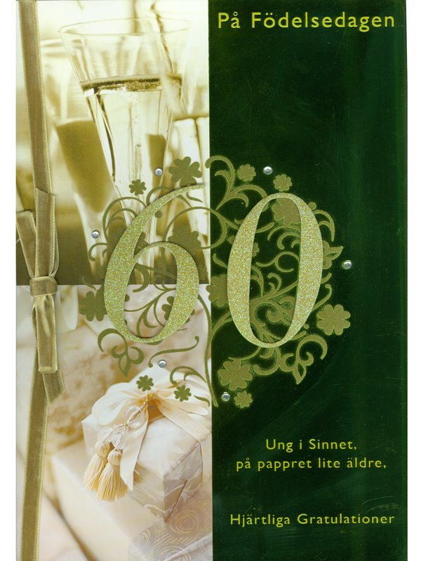 tackkort 60 år Grattiskort A4   Textil & Presentia tackkort 60 år