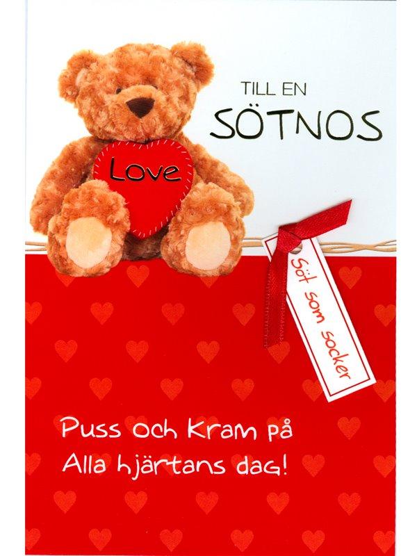 grattis på födelsedagen sötnos Alla Hjärtans Dags kort. Till en sötnos med nalle.   Textil  grattis på födelsedagen sötnos