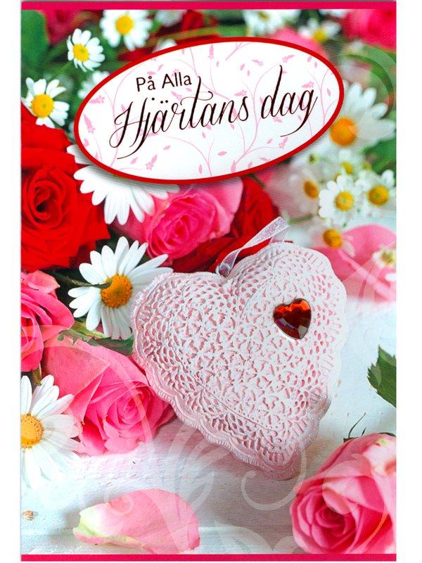 grattiskort alla hjärtans dag Alla Hjärtans Dags kort. Spetshjärta med rött pärlhjärta.   Textil  grattiskort alla hjärtans dag