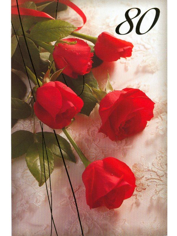80 års gratulationer Grattis till 80 år. Se grattiskort med röda rosor som du köper  80 års gratulationer