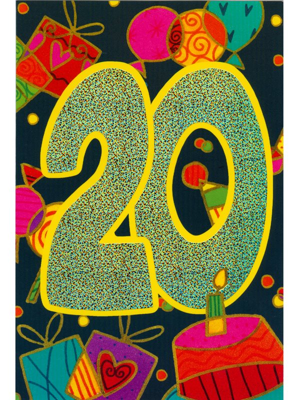 grattiskort 20 år Dubbelt grattiskort med kuvert 20 år. Se och beställ grattiskort  grattiskort 20 år
