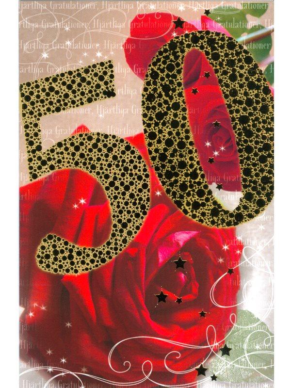 femtio års gratulationer Grattiskort med rosor och 50 i glänsande guldfärg. Köp grattiskort  femtio års gratulationer