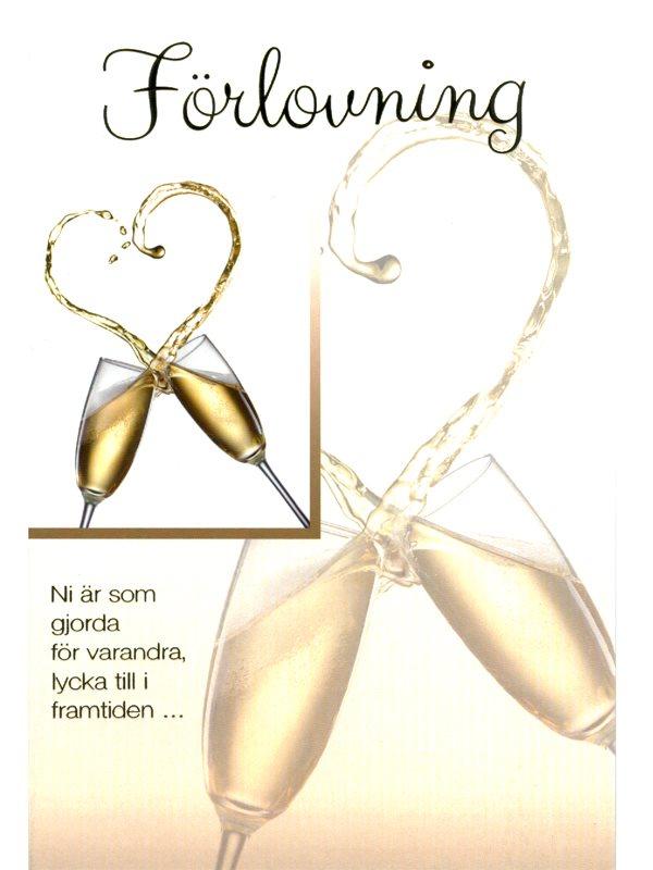 grattis till förlovningen kort Grattiskort till förlovning md guldfärgat kuvert beställer du här  grattis till förlovningen kort