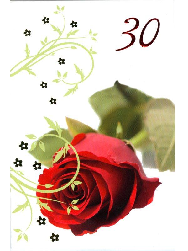 grattiskort 30 år Grattis på 30 års dagen. Vitt grattiskort med liggande röd ros och  grattiskort 30 år