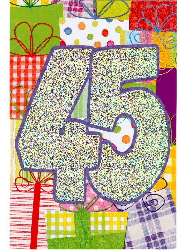 grattis på 45 årsdagen Grattis på 45 års dagen. Dubbla grattiskort med kuvert köper du på  grattis på 45 årsdagen